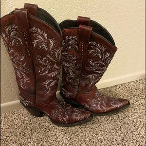 Lucchese burgundy ladies studded boots size 7B